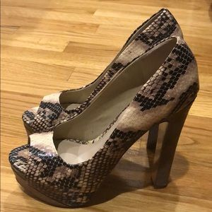 H by Halston Snake Skin Print Platform Heels